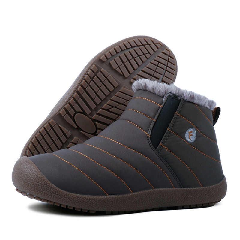 Kış erkek botları su geçirmez rahat kar botları kürk sıcak kış ayakkabı erkekler yarım çizmeler erkek botları kış ayakkabı artı boyutu