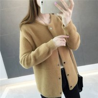 2019 New Female Loose Thick Sweater Jacket Thick Warm Fur 2019 Women's Round Neck Single Breasted Ladies Cardigan Sweater
