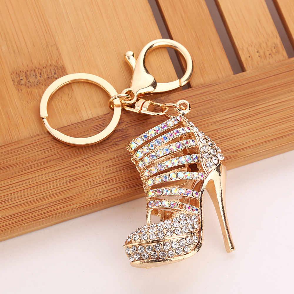High Heel Shoe Keychain Rhinestone Crystal Purse Car Key Chain Bag Decorative Al
