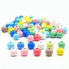 Contas de madeira natural bolas redondas 6/8/10/12mm espaçador colorido rosa azul verde cinza branco de madeira encantos diy jóias fazendo 1/200 pçs