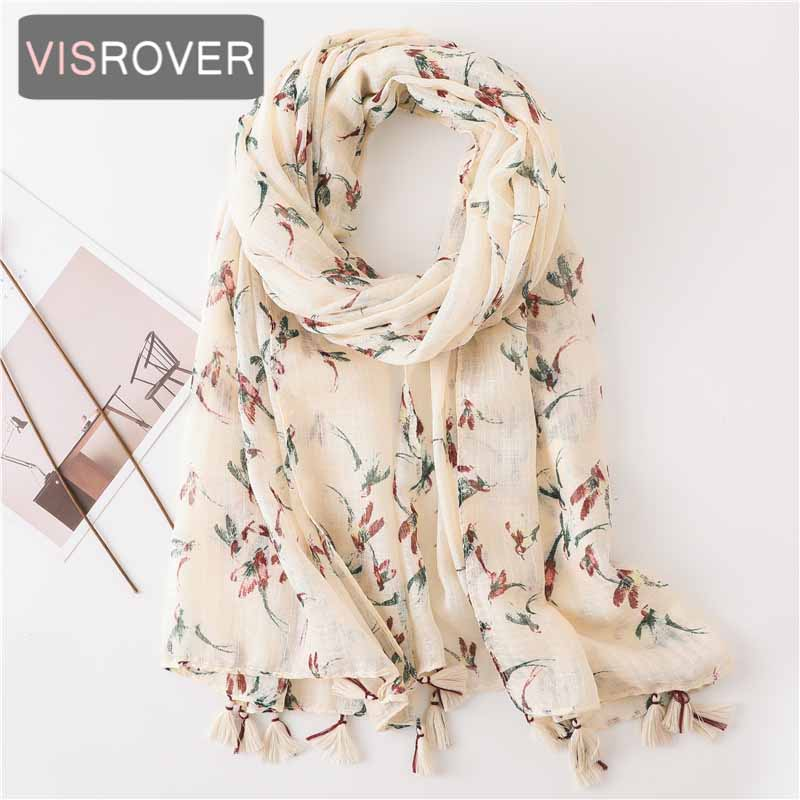 VISROVER 2020 New Bird Printing Viscose Summer Scarf With Tassel Fashion Beach Wraps Spring Shawls Beige Hijab Gift Wholesales