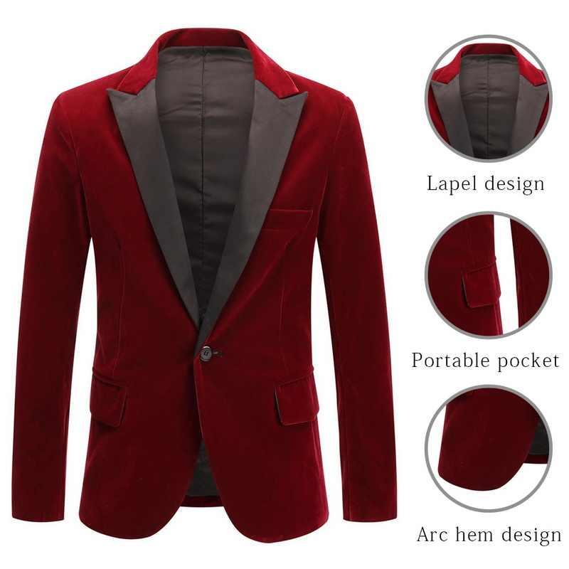 Puimentiua 男性の秋冬ベルベットワイン赤ファッションレジャースーツジャケット結婚式新郎スリムフィットブレザー Hombre Masculino