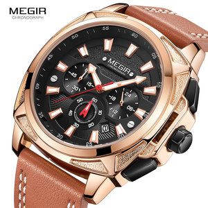 Image 2 - Megir カジュアルメンズ quarzt 腕時計ブラウンレザー防水腕時計男性高級スポーツクロノグラフ腕時計レロジオ masculino 2128