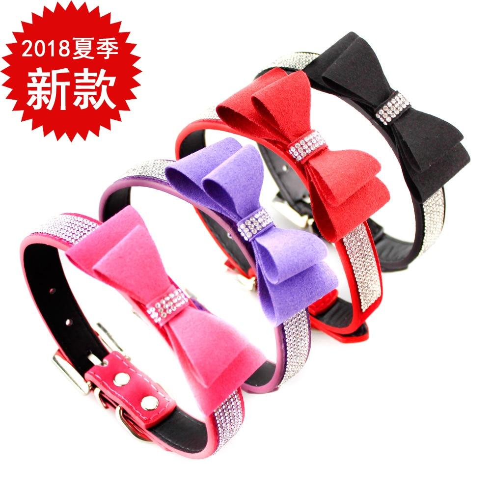 Christmas Flocked Man-made Diamond Dog Neck Ring Traction Dog Supplies Bow Pet Collar