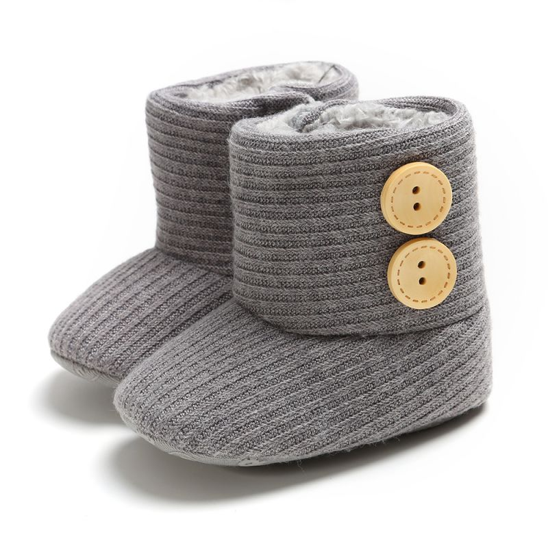 Infant Girls Shoes Newborn Baby Boots Winter Winter Warm Fur Mid-Length Slip-On Furry Boots 0-18M
