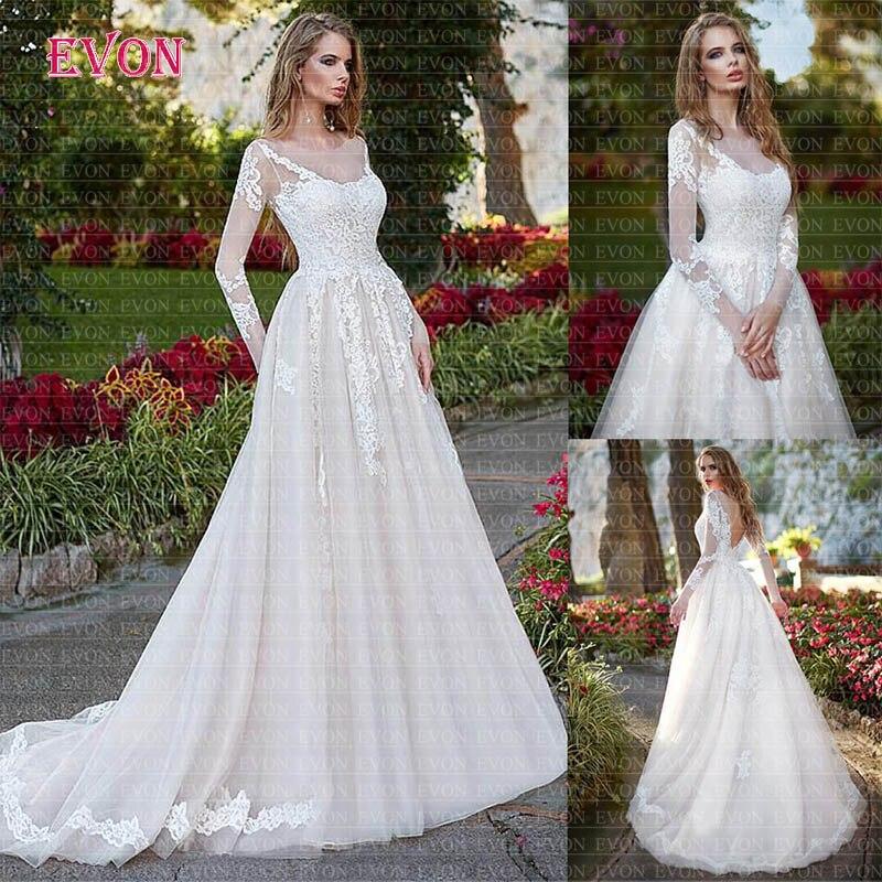 Robe De Noiva 2020 magnifique manches longues Scoop Tulle dentelle une ligne robes De mariée Boho dos nu robes De mariée Robe De Mariee