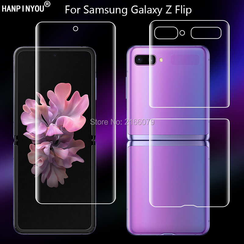 For Samsung Galaxy Z Flip ZFlip Soft TPU Front Back Full Cover Screen Protector Transparent Protective Hydrogel Film (Not Glass)