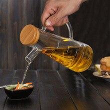 500 мл высокое боросиликатное стекло оливковое масло уксус горшок диспенсер бутылки уксус банка для хранения с ручкой и крышкой бутылка для масла
