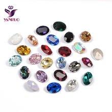YANRUO 4120 owalne ozdoby Strass szklane kamienie DIY szycia kryształy fantazyjne kamienie Pointback szyte dżetów jasne na odzież