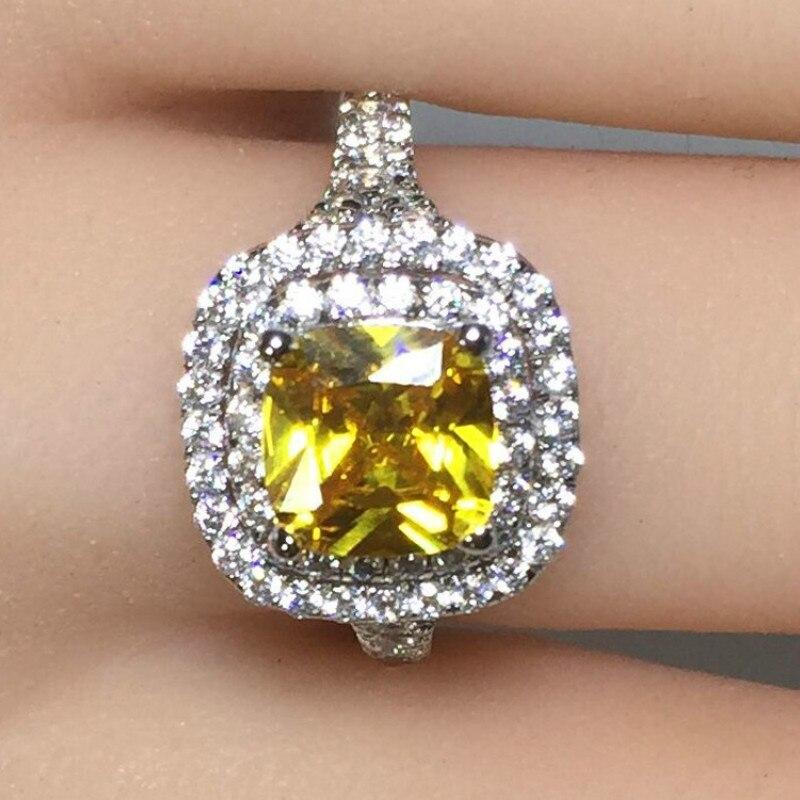 2ct Carat luxe anneaux ronds jaune CZ bague de fiançailles de mariage SONA S925 argent Sterling or blanc couleur femmes bijoux