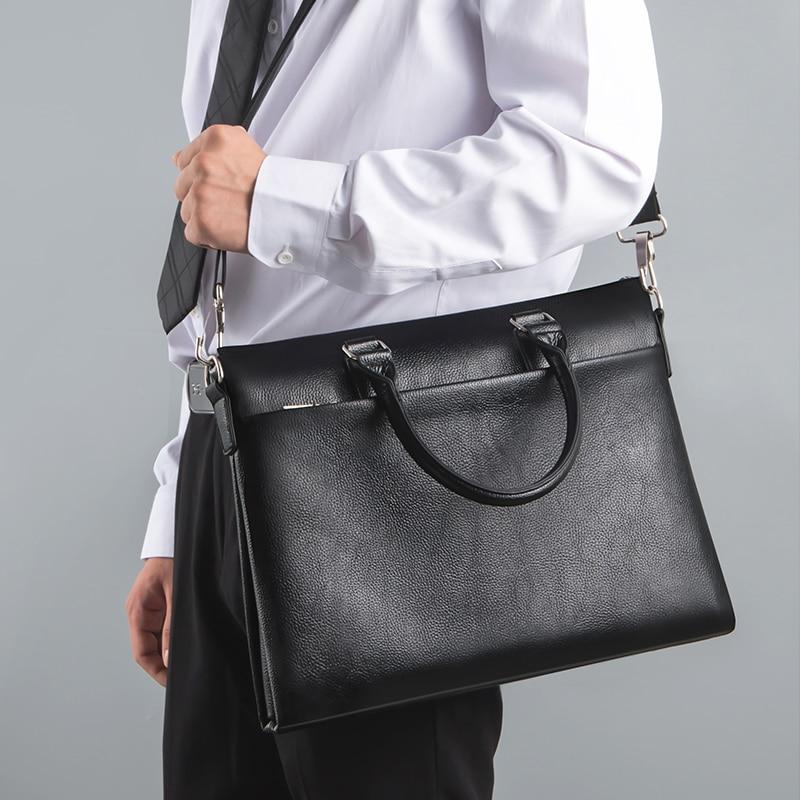 TIANSE Genuine Leather Shoulder Laptop Bag Men's Briefcase Bag Business Tote For Document Office Portable Laptop Shoulder Bag