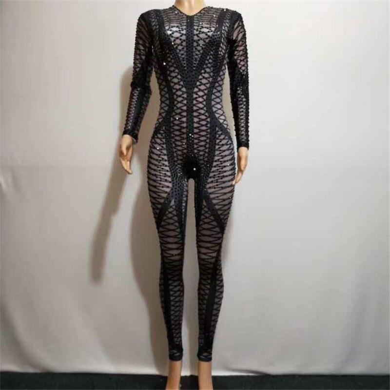 W17 Female Ballroom Dance Costumes Black Rhinestones 3d Printed Grid Jumpsuit Drilling Crystal Leotard Bodysuit Perform Wear Bar