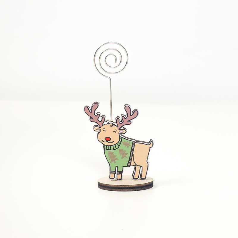 Cute Wood Santa Deer Penguin Note Clip Christmas Desktop Decoration Creative Baby Photo Clip Kids Toy Xmas Gift Home Party Decor