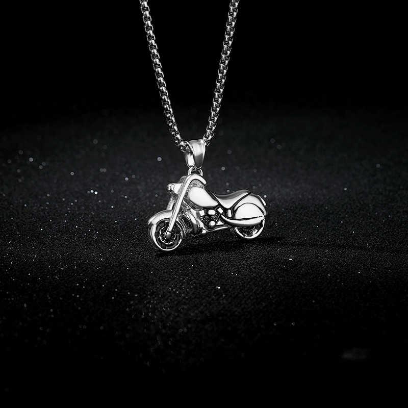 オートバイペンダントネックレス男性 2019 ステンレス鋼チェーンチョーカーゴールドロングネックレスゴシックジュエリーパンク BFF コリアーモト襟