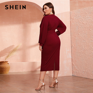 Image 2 - SHEIN Plus Size Burgundy Plunging Neck Wrap Belted Pencil Long Dress Women Autumn High Waist Fitted Slit Wrap Party Sexy Dresses