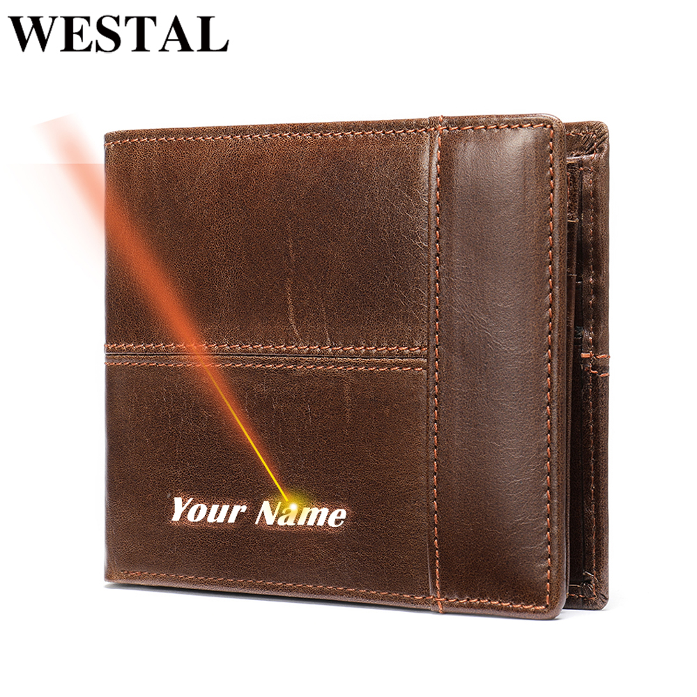 WESTAL Wallet male Genuine Leather Short Wallet men's Vintage Cow Leather Casual Man Wallets Purse Standard Card Holders 8064