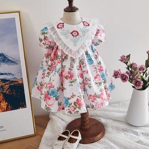2020 летние платья с цветочной вышивкой для девочек, милые платья принцессы для малышей, детская одежда для крещения на день рождения, Spainsh, ев...