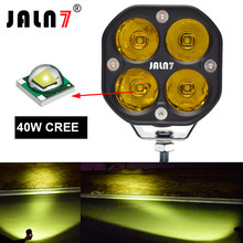 JALN7 1Pc LED jazda motocyklem reflektor 40W lampa przeciwmgielna światło robocze 4x4 kwadratowy 3 calowy Mini Offroad żółty biały wodoodporny ATV UTV