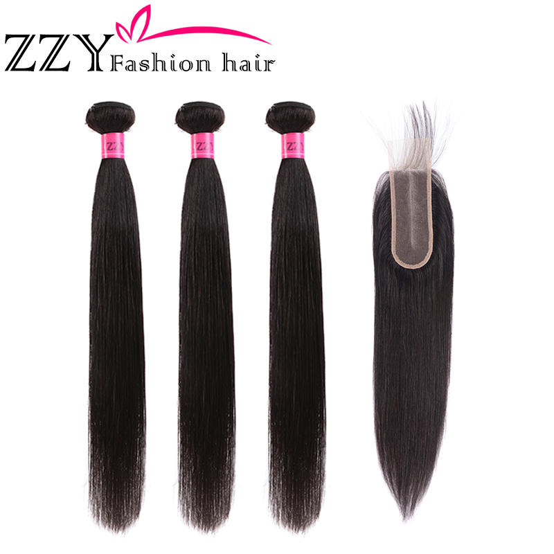 ZZY Fashion Hair Straight Hair Bundles With Closure Brazilian Hair Weave Bundles Human Hair 2x6 Closure With Bundles Non-remy
