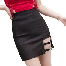 Pencil High Waist Skirt Novel Hollow Design Womens Fashion Sexy Cotton Solid Color OutAbove Knee MiniSexy & Club