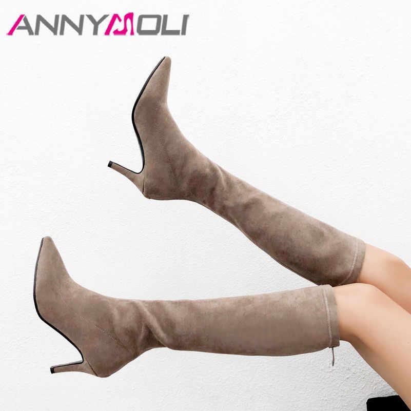 ANNYMOLI hiver genou bottes hautes femmes troupeau talon aiguille bottes hautes mince fermeture éclair bout pointu chaussures femme automne taille 34-39