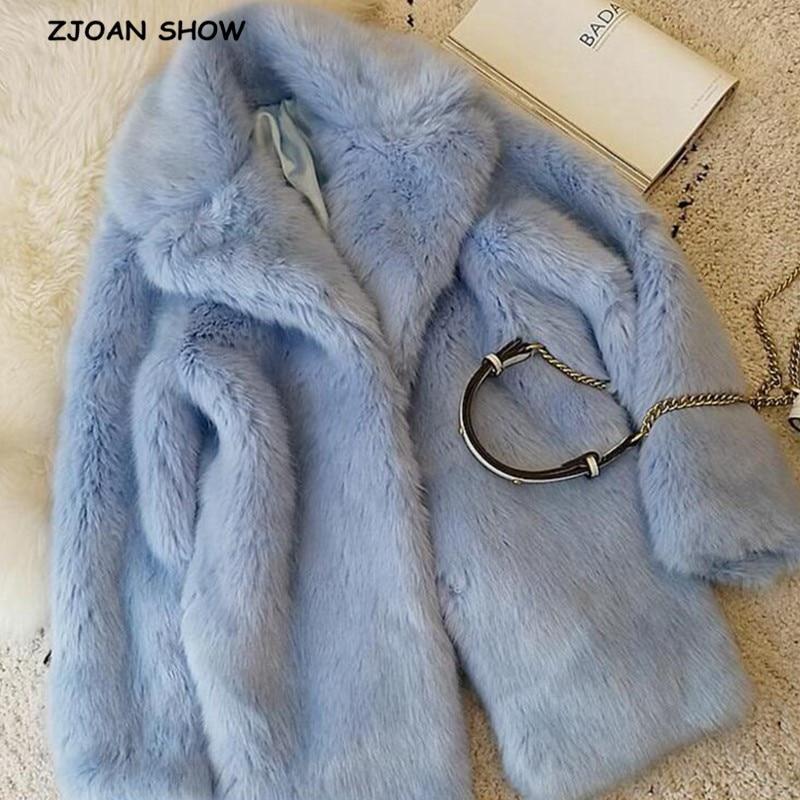 HIGH QUALITY Winter Lapel Hairy Shaggy Faux Fur Jacket Aqua blue Vintage Long sleeve Furry Faux Fur Coat Mid Long Outerwear