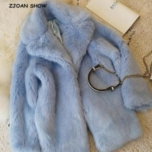 Jacket Coat Hairy Faux-Fur Aqua Blue Furry Winter Outerwear Long-Sleeve Vintage Shaggy