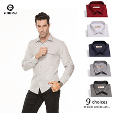 Men Shirt 2019 New Arrival Autumn Winter Dress Slim Long Sleeve Solid Casual Oxford 9 Color Choices HAOYU