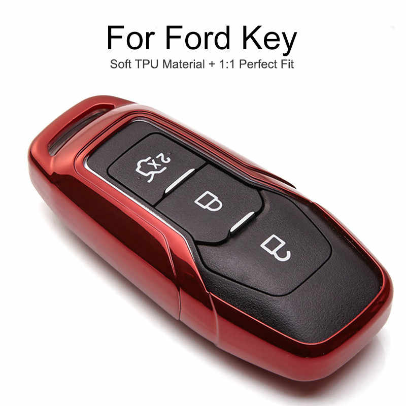 6 Colors TPU Car Key Cover Case Cap For Ford Transit Custom Focus 3 2 SMax Fusion Fiesta ST C MAX KA 2019 Key Chain Ring Styling