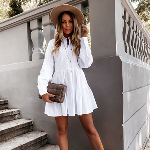 Women Autumn Long Sleeve White Pleated Shirt Dress 2020 Winter Casual Ruffles Loose Mini Dress Ladies A Line Office Vestidos