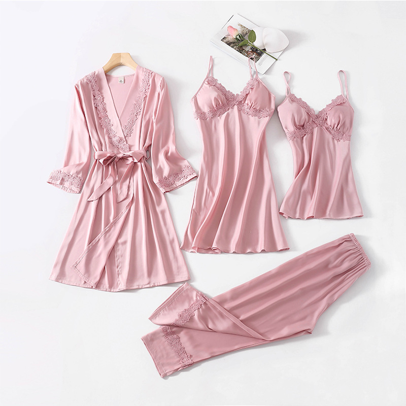 Bride Bridesmaid Wedding Gown Women 4PCS Pajamas Set Sleepwear Lace Nightgown Mini Sexy Intimate Lingerie Sleep Suit