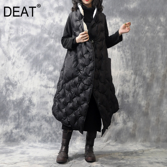 $ US $68.04 [DEAT]2020Spring Woman Black Sleeveless Stand Collar Single Button Diamond Grain Pockets Warm Long Thick A-line Vest LE05