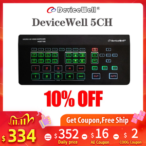 Devicewell HD Video 5CH Switcher 4CH-HDMI + 1CH-DP HDS7105 PGM PVW Multi-view MIX FADE Live Streaming Software Control