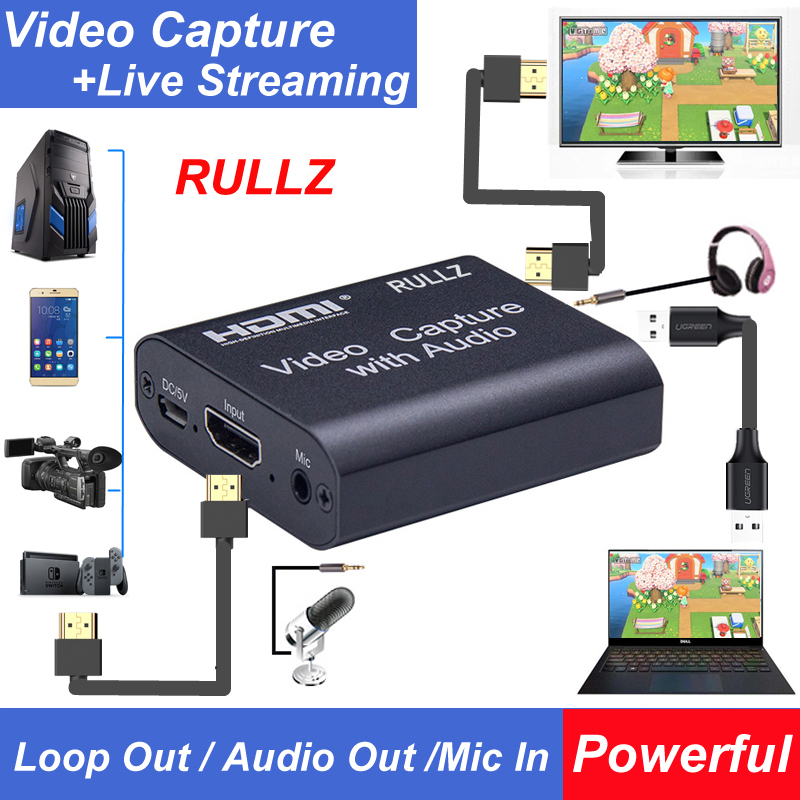HDMI To USB 2.0 Loop Out Graphics Capture Card Video Recording Box Game Live Streaming Digital Video Recorder Mic In Audio Out