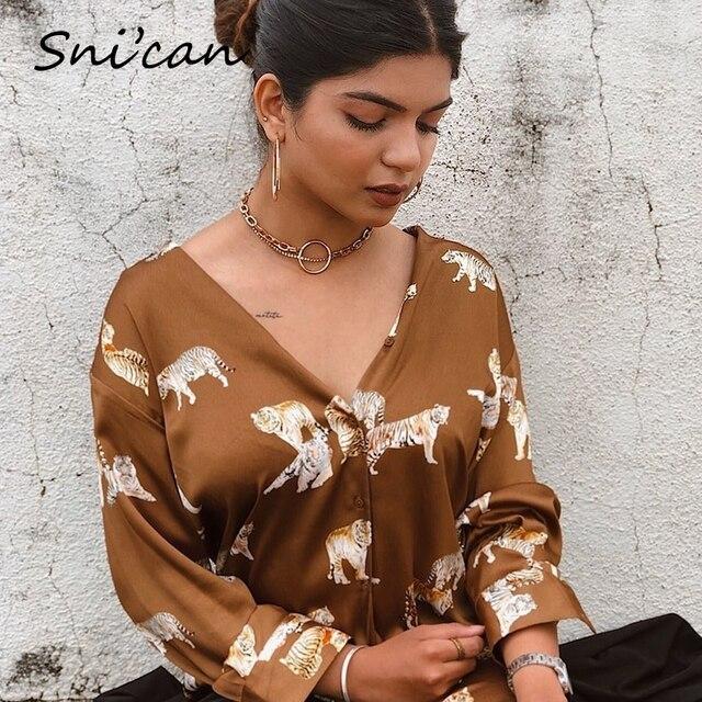 Blusa de satén con estampado de cebra para mujer, camisa de manga larga con estampado de cebra para oficina, Estilo vintage, 2020 3