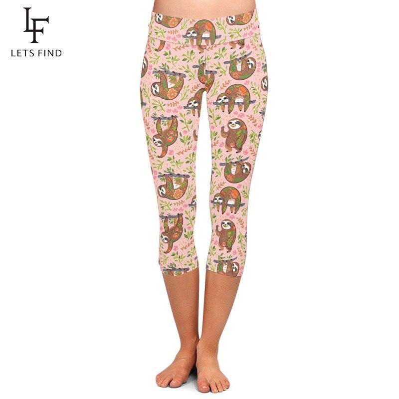 LETSFIND High Quaility Women Cute Sloths With Floral  Print Mid-Calf Leggings High Waist Plus Size Fitness Slim Capri Leggings