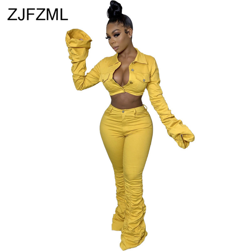 Plus Size Casual Two Piece Set Tracksuit Women Turn Down Collar Long Sleeve Crop Coat  And High Waist Bodycon Pant Club Outfits