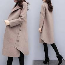 Модное женское повседневное теплое шерстяное пальто размера плюс, Осень-зима, новинка, Женское пальто средней длины с отложным воротником, на пуговицах