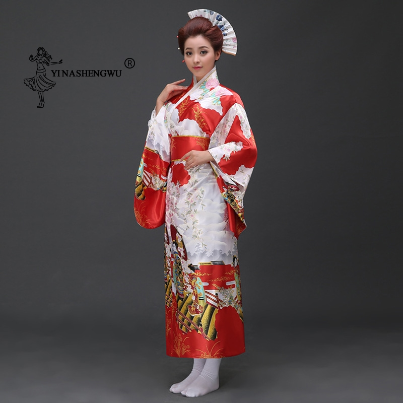 Sexy Geisha Yukata Women Japan Femmes Japanese Traditional Floral Print Long Kimono Stage Costume Cosplay Cotume Asian Clothings