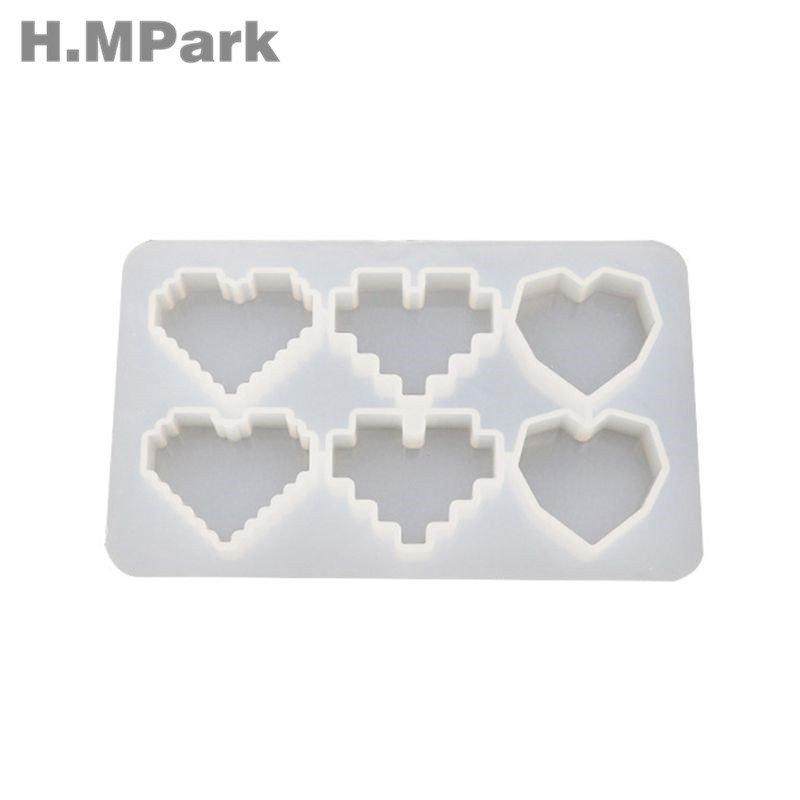 2019 Crystal UV Epoxy Resin Mold Pixel Love Heart Shape High Mirror DIY Handmade Jewelry Tools Pendant Silicone Molds For Resin