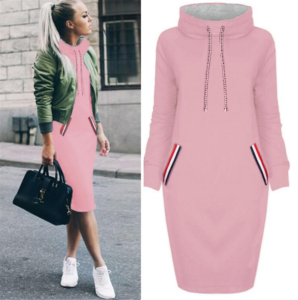 Hbfaaa77b411d4b2897c5041f1e75e93fQ - BKMGC Women Pockets Pullover Long Sweatshirt Dress Casual Dress Hoodies Women Tracksuit Sweatshirt Female Hoodie Dress