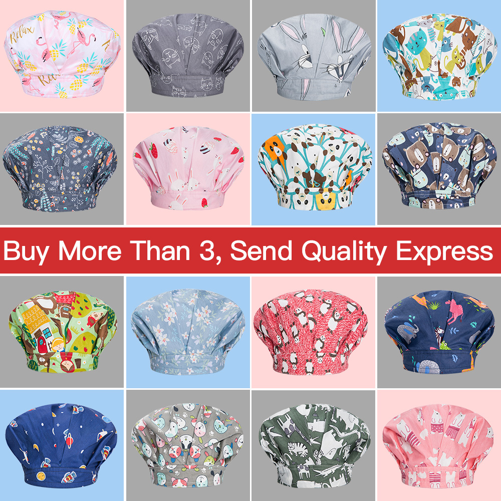 Cotton Pet Hospital Operating Room Hat Cartoon Print Medical Surgical Caps Sweat-absorbent Doctor Hats Dental Clinic Nursing Cap