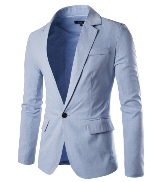 2016 Spring Clothing New Style Multicolor Versatile Solid Color Simple Men Linen One-Button Small Suit Hot Sales-