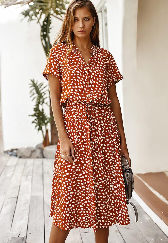 Dots Print White Short Sleeve Midi Boho Beach Dress 8