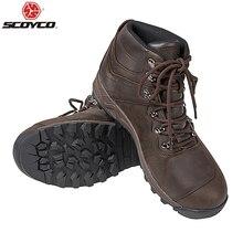 SCOYCO ชายรองเท้าบู๊ทรถจักรยานยนต์ Cowhide Botas Moto Wearable Motocross Boot Off Road Riding รองเท้าสำหรับ4ฤดู,T 043