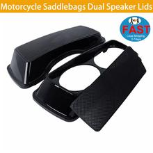 Motorcycle Saddlebags Dual Speaker Lids  Cover 6x 9 For 93-13 Harley Electra Glide Road Black