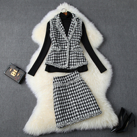 Runway Tweed Top and Skirt Sets 2019 Houndstooth Checker Pattern 3 Pieces Skirt Suit For Women Lady Trim Plaid Vest Skirt Suit