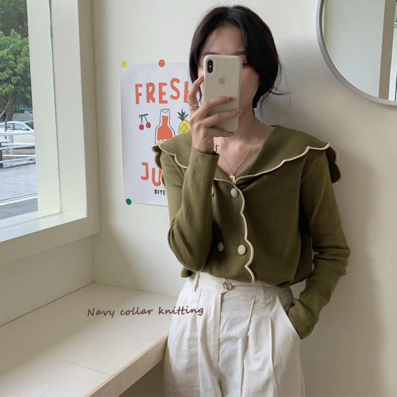 Women Autumn Winter Green Short Sweater Coat Retro Gentle Double Breasted Knitted Cardigan Coat Casual Long Sleeve Outwear