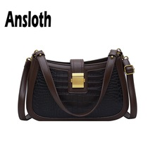 Ansloth Patchwork Baguette Bag Women Crocodile Designer Shoulder Ladies Vintage Winter Female Small Handbag HPS719