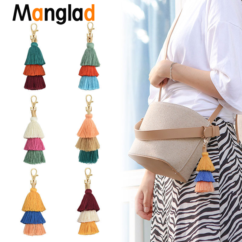 Boho Keychain Multilayer Tassel Pendant For Women Bag Hanging Ornament Woven Bohemian Key Charm Bags Accessories Gift Wholesale